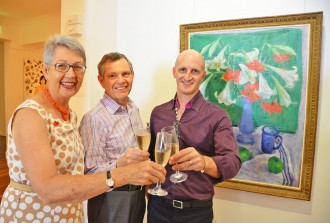 Lismore mayor Jenny Dowell, Executor of Margaret Olley's estate Philip Bacon, and Brett Adlington, director of the Lismore Regional Gallery.