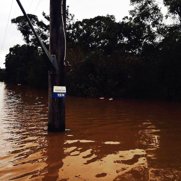 Flood level near Bridge Street in North Lismore.